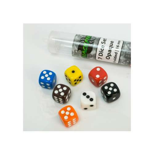 Blackfire Dice: 16 mm opaque D6 in Tube (7 Dice)