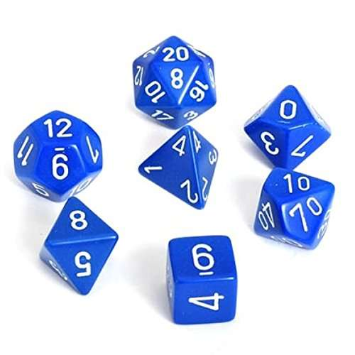 Chessex Opaque Polyhedral 7-Die Set - Blue w/white