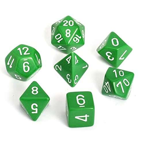 Chessex Opaque Polyhedral 7-Die Set - Green w/white