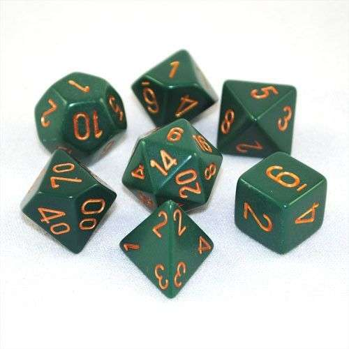 Chessex Opaque Polyhedral 7-Die Set - Dusty Green w/copper