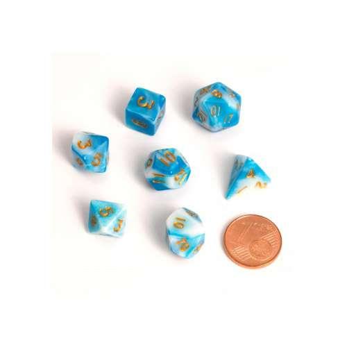 Blackfire Dice: 9-12 mm Fairy Dice RPG Set - BiColor Blue White (7 Dice)