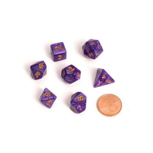 Blackfire Dice: 9-12 mm Fairy Dice RPG Set - Marbled Purple (7 Dice)