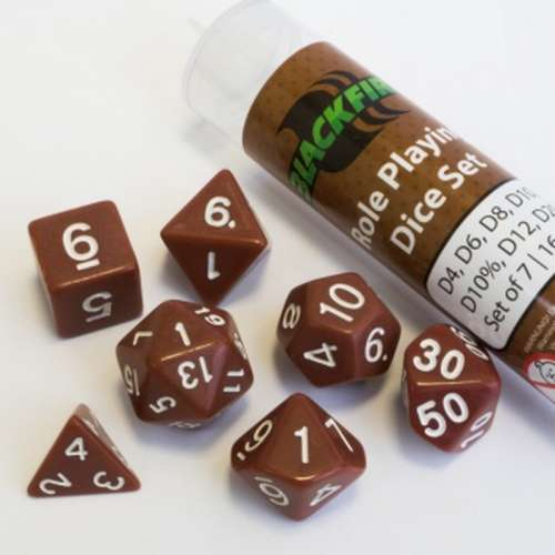 Blackfire Dice: 16 mm RPG Dice Set - Brown (7 Dice)