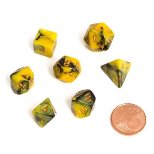 Blackfire Dice: 9-12 mm Fairy Dice RPG Set - BiColor Yellow Black (7 Dice)