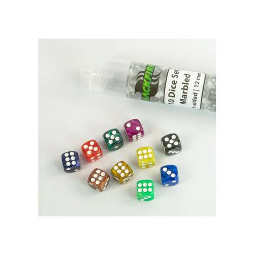 Blackfire Dice: 12 mm marbled D6 in Tube (10 Dice)