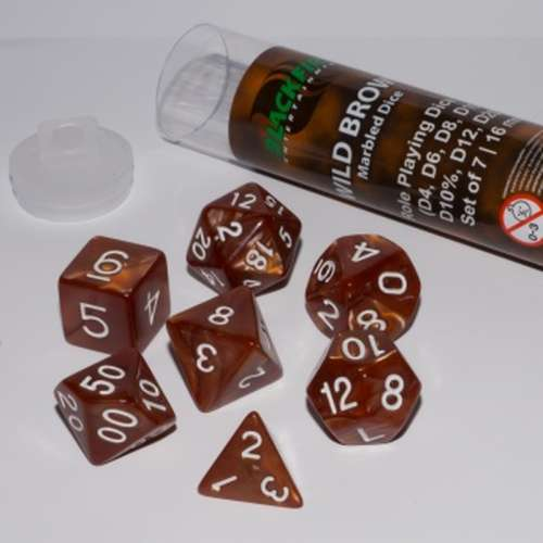 Blackfire Dice: 16 mm RPG Dice Set - Wild Brown (7 Dice)