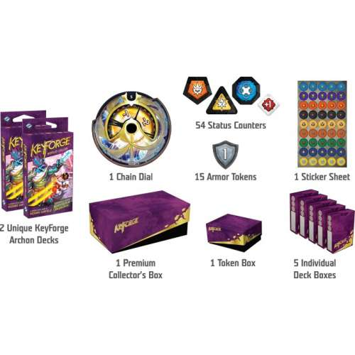 KeyForge: Worlds Collide Premium Box + 2 броя Age of Ascension: Archon Deck