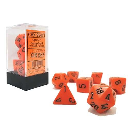 Chessex Opaque Polyhedral 7-Die Set - Orange w/black