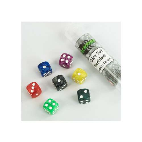 Blackfire Dice: 16 mm marbled D6 in Tube (7 Dice)