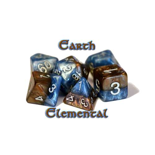Halfsies Dice - Earth Elemental (7 Dice Polyhedral Set)