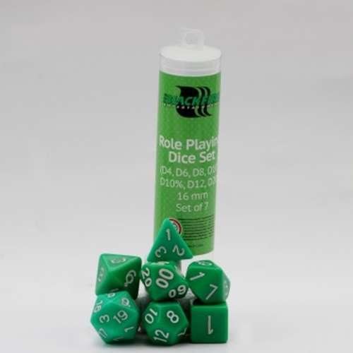 Blackfire Dice: 16 mm RPG Dice Set - Green (7 Dice)