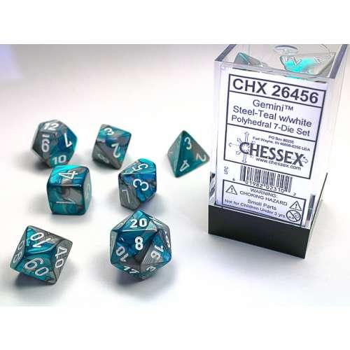 Chessex Gemini Polyhedral 7-Die Set - Steel-Teal w/white