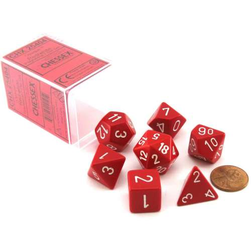 Chessex Opaque Polyhedral 7-Die Set - Red w/white