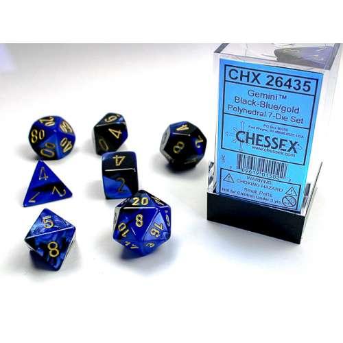 Chessex Gemini Polyhedral 7-Die Set - Black-Blue w/gold