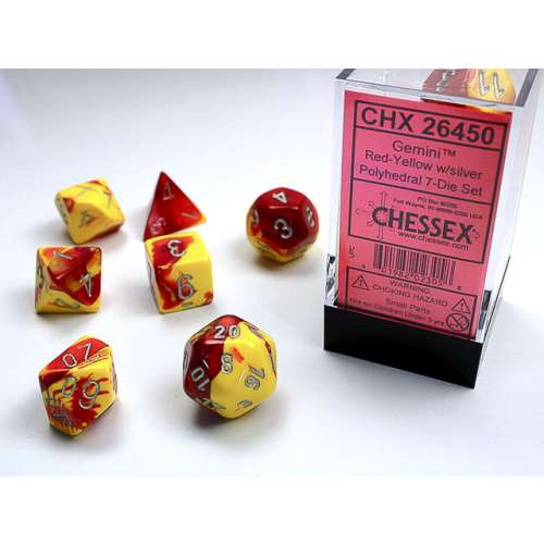 Chessex Gemini Polyhedral 7-Die Set - Red-Yellow w/silver