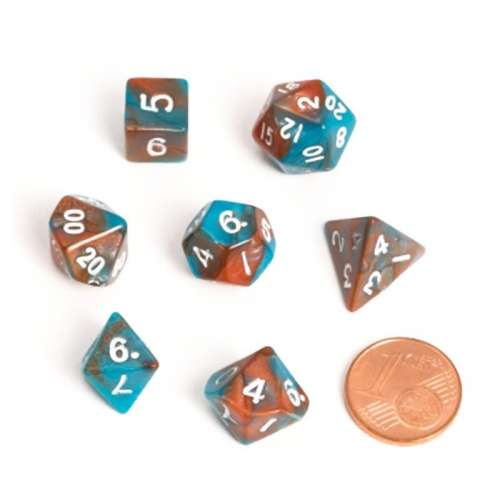 Blackfire Dice: 9-12 mm Fairy Dice RPG Set - BiColor Orange Blue (7 Dice)
