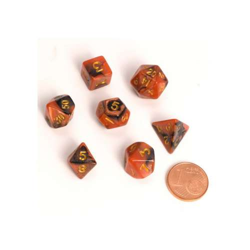 Blackfire Dice: 9-12 mm Fairy Dice RPG Set - BiColor Black Orange (7 Dice)